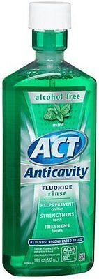 ACT Alcohol-Free Anticavity Fluoride Rinse - Mint - 18 fl oz  (3 PACK) Act Anticavity Fluoride Rinse Alcohol Free