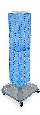 Blue Interlocking Pegboard Display On Square Wheeled Base 8w X 40h Inches