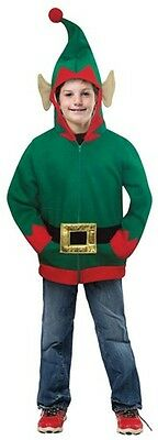 Kids ELF Hoodie Costume Jacket Halloween Childs Boys Girls Childrens Green NEW](Childrens Elf Costume)