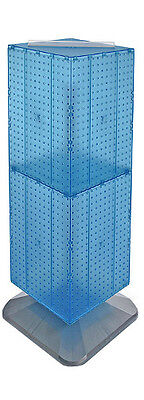 Blue 4-sided Interlocking Pegboard Display On Square Weighted Base 14w X 40h