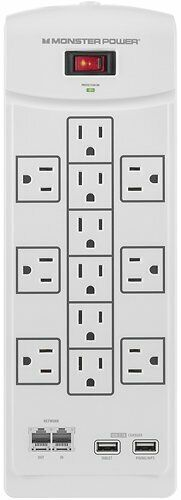 Brand New Monster Core Power 1200 USB 12-Outlet Surge Protector - White
