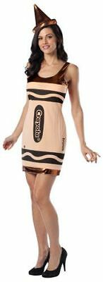 Brown Crayon Costume (Womens Adult Sexy Crayola Bronze Brown Crayon Tank Dress Costume Outfit W/)