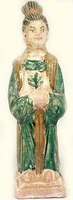 15thC Antique Ming China LG Glazed Multi-Color Sancai Statuette Servant Cabbage
