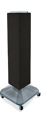 New Black Interlocking Pegboard Display On Square Wheeled Base 8 X 8 X 40