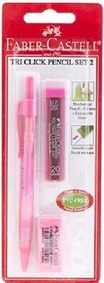 Faber - Castell Tri Click Set 2 Pink Mechanical Pencil Eraser 07mm Leads