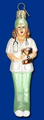 NURSE IN GREEN SCRUBS OLD WORLD CHRISTMAS MEDICAL THEME GLASS ORNAMENT NWT - Nurse Ornaments