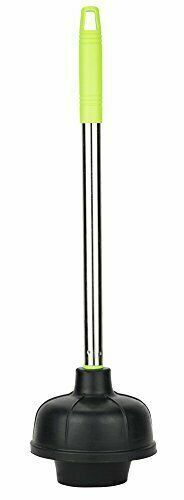 Heavy Duty Toilet Plunger with Green Accents - Stainless Steel Handle