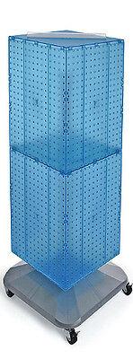 Blue 4-sided Pegboard Interlocking Display With Wheels 14w X 40h