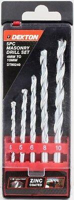 Dekton 5 Piece Masonry Drill Bit Set With Storage Case 4-10mm DT80240