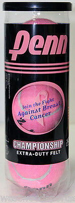 Penn Pink Championship Tennis Balls  Can  Hard Court  Breast Cancer Awareness