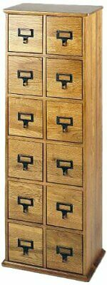 Leslie Dame Solid Oak Library Card File Media Cabinet, 12 Drawers in Oak, CD-228
