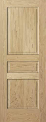 3 Panel Raised Solid Clear Poplar StainGrade Solid Core Wood Doors Interior Door