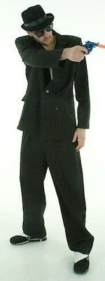 Male Gangster 1920's 20's Black Pin Stripe Suit Fancy Dress Costume ](1920 Male Costumes)