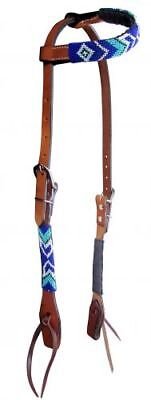 (WESTERN SADDLE HORSE BLUE + WHITE BEADED PREMIUM LEATHER 1 EAR HEADSTALL BRIDLE)