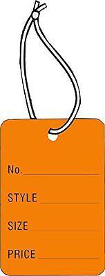 Small Garment Tag Orange Color 1-78 X 1-14 No Style Sz Prc Strung