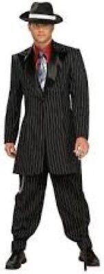 White Zoot Suit Costume (Gangster Coat Men's Blk/White Pinstripe Costume Zoot Suit Jacket)