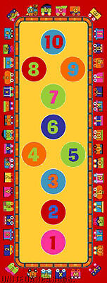 3x7 Educational Runner Rug  ABC Kids School Time  Numbers Train Play Hopscotch
