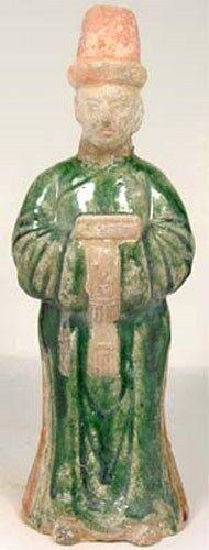 15thC Antique Ming China Large Sancai Statuette Figurine Male Personal Attendant