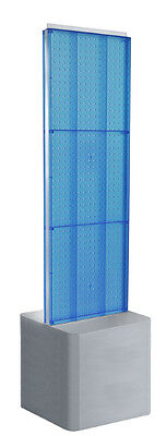 Blue 2-sided Pegboard Floor Display 16w X 60h Inches On Adjustable Studio Base