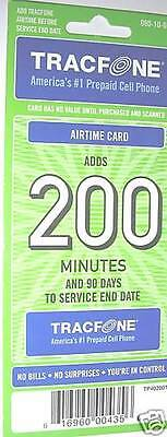 200 Minutes + 90 days TRACFONE CARD-- Actual card & no sales tax