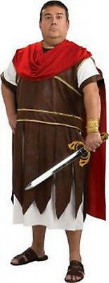 Roman Solider 3 Pc White Brown & Red Tunic Armor & Cape Men's Plus Size Costume](Roman Solider Costume)
