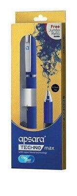 Apsara Technomax Gel Pen WaterProof Ink Smooth Grip With Free Jumbo Refill, -