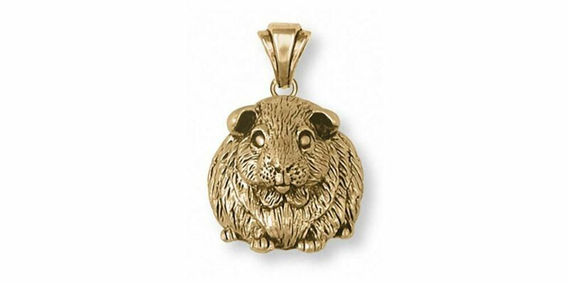 Guinea Pig Pendant Jewelry 14k Gold Handmade Piggie Pendant GP1-PG