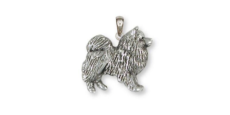 Keeshond Pendant Jewelry Sterling Silver Keeshond Dog Pendant KH1-P
