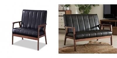 Baxton Furniture Studios Nikko Mid-Century Modern Scandinavian Style Black  Wholesale Interiors Leather Loveseat