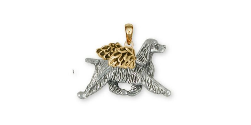 Springer Spaniel Angel Pendant Jewelry Gold Vermeil Handmade Dog Pendant SS8-APV