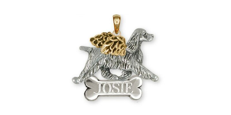 Springer Spaniel Angel Pendant Jewelry Gold Vermeil Handmade Dog Pendant SS8-ANP