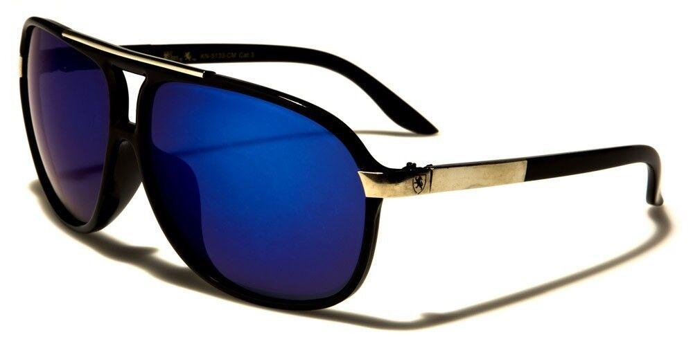 Black w. Blue Lens Aviator 80's Sun Glasses