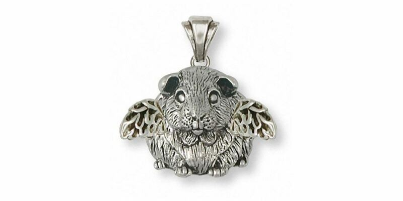 Guinea Pig Angel Pendant Jewelry Sterling Silver Handmade Piggie Pendant GP1-AP