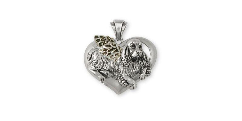 Springer Spaniel Angel Pendant Jewelry Sterling Silver Handmade Dog Pendant SS2-