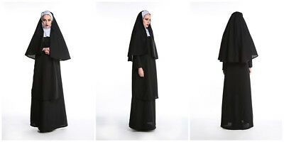 Fashion Womens Nun Fancy Dress Costume Adults Party Outfit Habit Sister Act New - Nuns Outfit