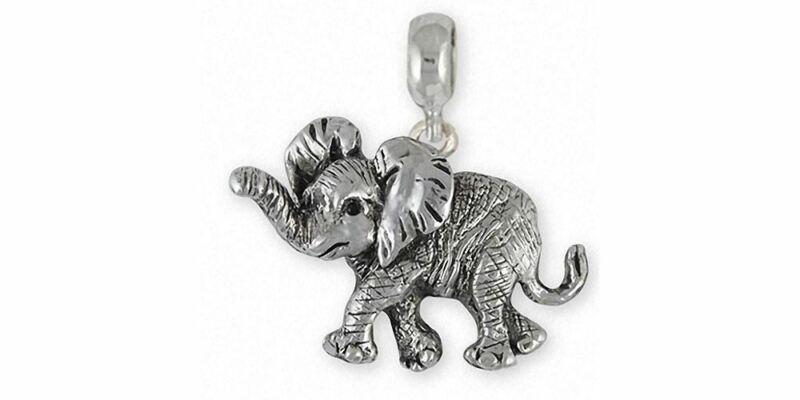 Elephant Jewelry Sterling Silver Elephant Charm Slide Handmade Wildlife Jewelry
