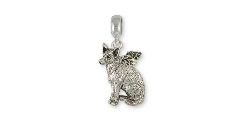 Australian Cattle Dog Angel Charm Slide Jewelry Sterling Silver Handmade Dog Cha