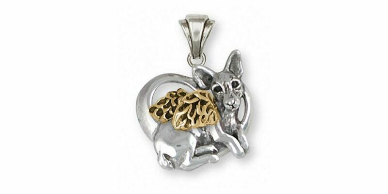 Rat Terrier Angel Pendant Jewelry Silver And Gold Handmade Dog Pendant RTT1-TNAP