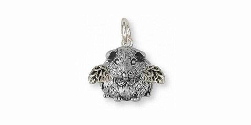 Guinea Pig Angel Charm Jewelry Sterling Silver Handmade Piggie Charm GP12X-AC