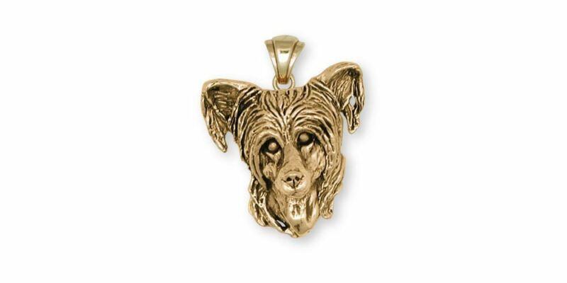 Chinese Crested Pendant Jewelry 14k Gold Handmade Dog Pendant CC3-PG