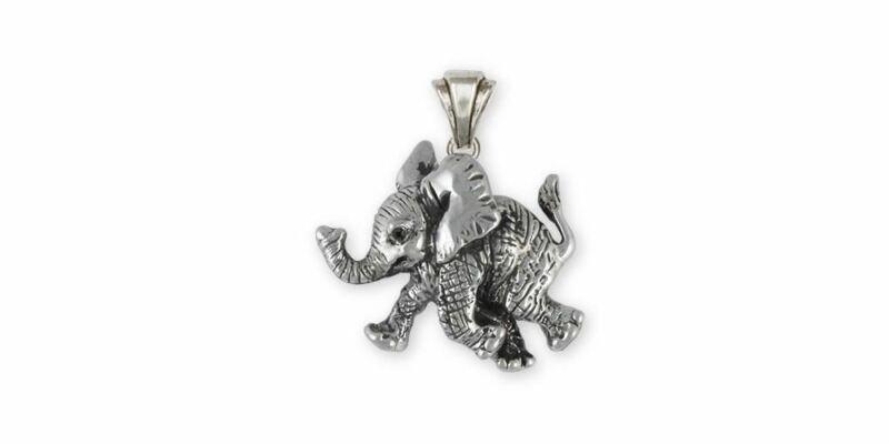 Elephant Jewelry Sterling Silver Elephant Pendant Handmade Wildlife Jewelry EL1-