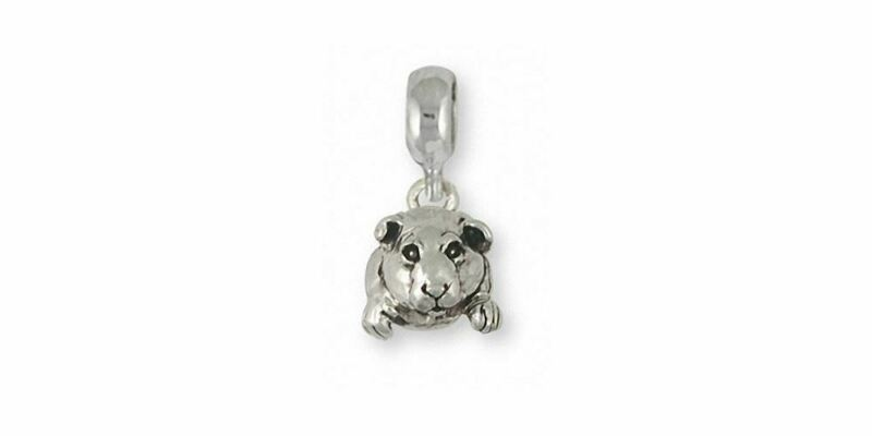 Guinea Pig Charm Slide Jewelry Sterling Silver Handmade Piggie Charm Slide GP10-