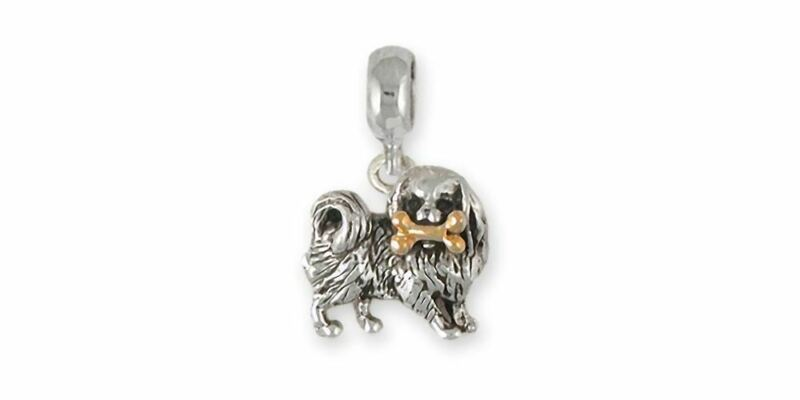 Japanese Chin Charm Slide Jewelry Silver And 14k Gold Handmade Chin Charm Slide