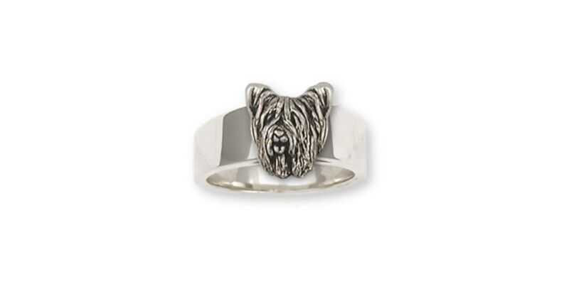 Skye Terrier Ring Jewelry Sterling Silver Handmade Dog Ring SKY1H-R