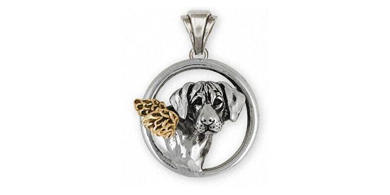 Rhodesian Ridgeback Angel Pendant Jewelry Silver And 14k Gold Handmade Dog Penda