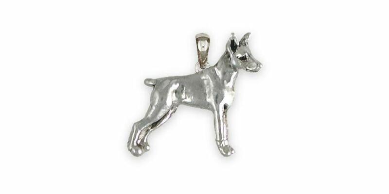 Min Pin Jewelry Sterling Silver Handmade Miniature Pinscher Pendant  MP19-P