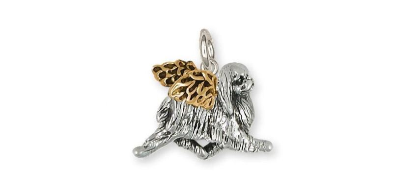 Japanese Chin Angel Charm Jewelry Silver And 14k Gold Handmade Chin Charm JC10-T