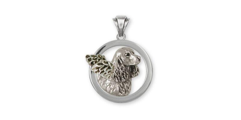 Springer Spaniel Angel Pendant Jewelry Sterling Silver Handmade Dog Pendant SS5-