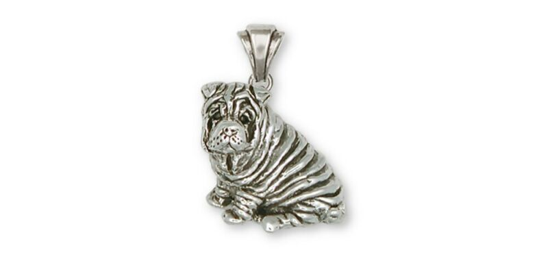 Shar Pei Pendant Jewelry Sterling Silver Handmade Dog Pendant SHP1-P