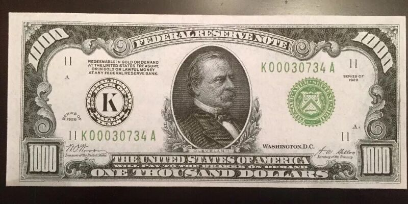 Reproduction United States 1928 $1000 Bill Federal Reserve Note, Dallas Texas